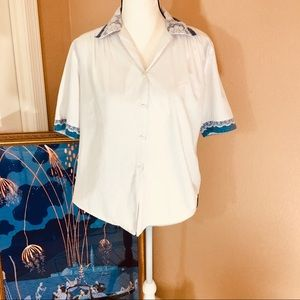 Vintage white button shirt w/lace & denim trim